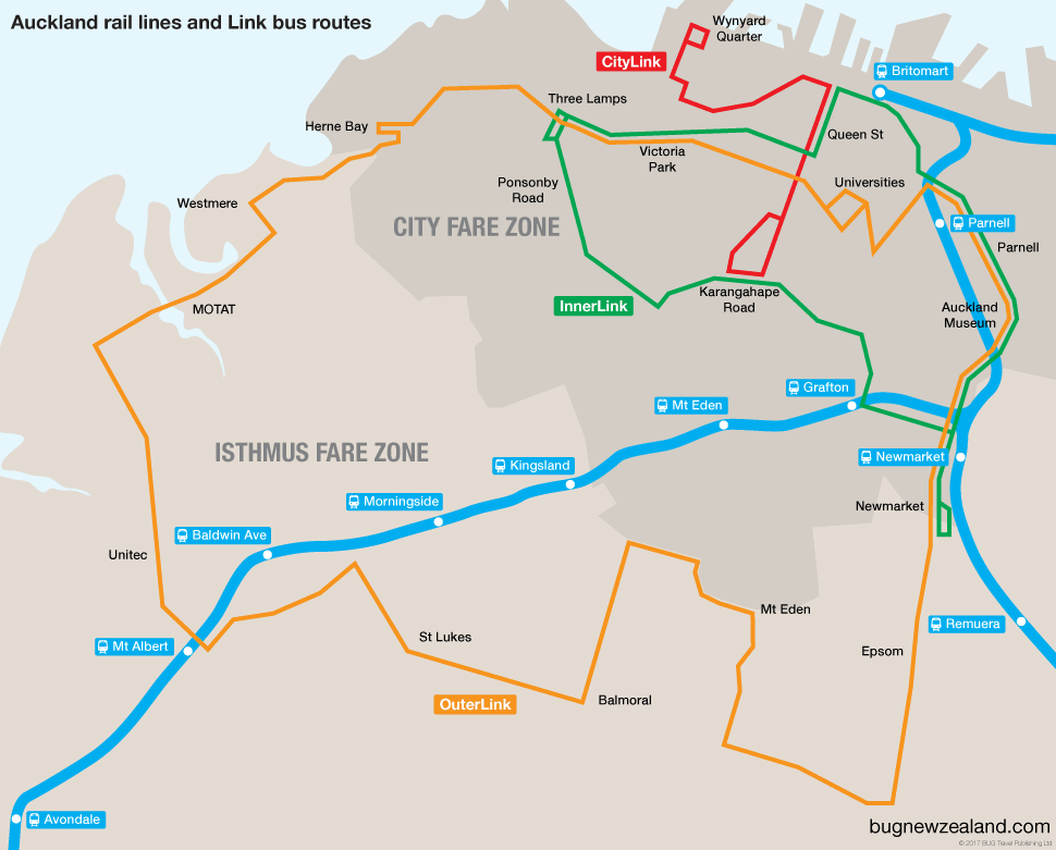 Auckland Link bus routes and rail lines